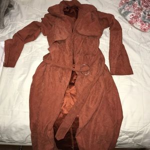 Missguided rust suede trench coat